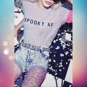 Wildfox Spooky AF Heather Gray Tee